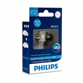 Philips C5W 12V 1W 30мм X-treme Ultinon LED 4000k (129404000KX1)